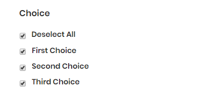Deselect All' for checkboxes in Gravity Forms.
