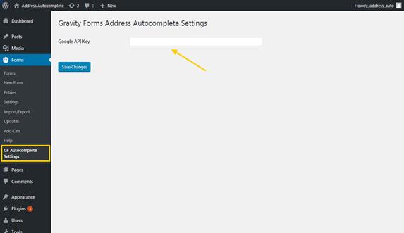Add Google Places API key