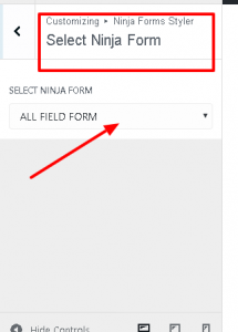 Select the form for styling using styler for ninja forms plugin