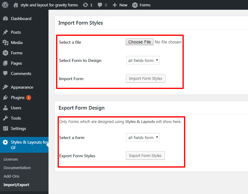 Import and Export your Gravity forms styles.