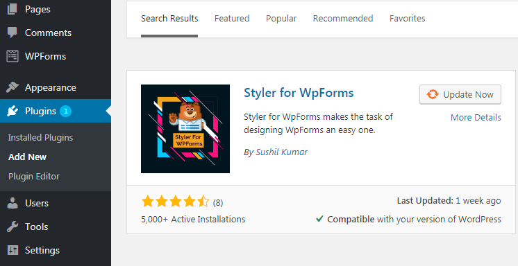 "Dowload ""Styler for WpForms"""
